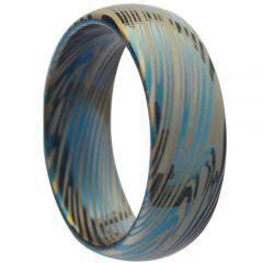 COI Tungsten Carbide Blue Silver Damascus Dome Court Ring-TG3833