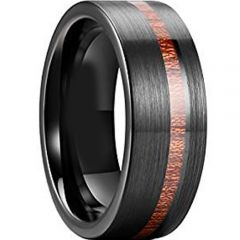 COI Black Tungsten Carbide Ring With Offset Wood - TG3847AA