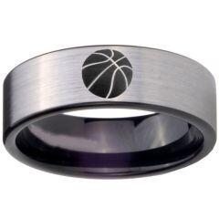 COI Titanium Black Silver Basketball Pipe Cut Flat Ring - 3886