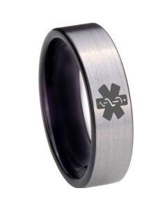 COI Tungsten Carbide Medical Alert Pipe Cut Ring - 3975