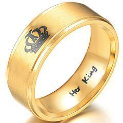 *COI Gold Tone Tungsten Carbide King Crown Step Edges Ring-3988