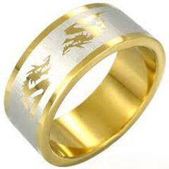 COI Tungsten Carbide Gold Tone Silver Dragon Ring - TG3989