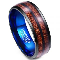 COI Tungsten Carbide Black Blue Dome Court Wood Ring - TG4009