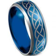 COI Tungsten Carbide Bule Silver Celtic Ring - TG4029