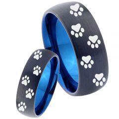 COI Tungsten Carbide Black Blue Paws Print Ring - 4038
