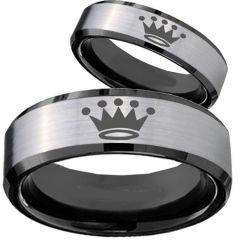 COI Titanium Black Silver King Crown Beveled Edges Ring  - 4074