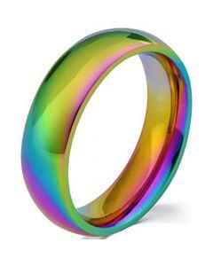 COI Tungsten Carbide Rainbow Pride Dome Court Ring-TG4194