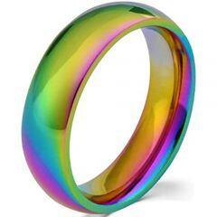*COI Titanium Rainbow Pride Dome Court Ring - JT3391