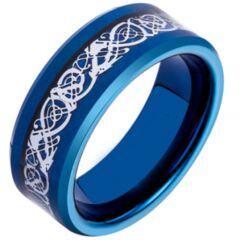 COI Titanium Blue Silver Dragon Beveled Edges Ring - JT3392