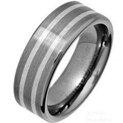 COI Titanium Double Lines Pipe Cut Flat Ring - JT3603