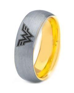 **COI Tungsten Carbide Gold Tone Silver Wonder Woman Ring-TG4428