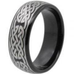 COI Black Tungsten Carbide Celtic Dome Court Ring-TG4448