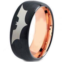 **COI Tungsten Carbide Black Rose Batman Dome Ring - 4477