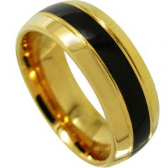 COI Titanium Black Gold Tone Double Grooves Ring - JT3705