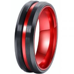 COI Titanium Black Red Center Groove Beveled Edges Ring-001AA