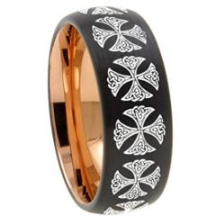 COI Tungsten Carbide Black Rose Cross Ring-TG4541