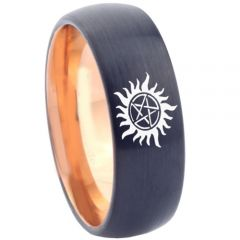 COI Tungsten Carbide Black Rose Supernatural Ring - 4562