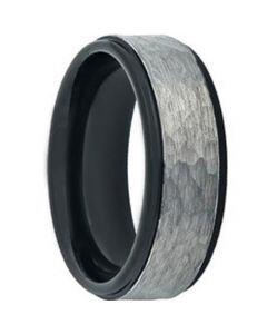 COI Titanium Black Silver Hammered Step Edges Ring - JT3822