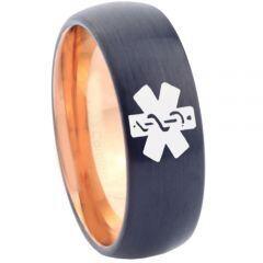 COI Tungsten Carbide Black Rose Medic Alert Ring - 4630