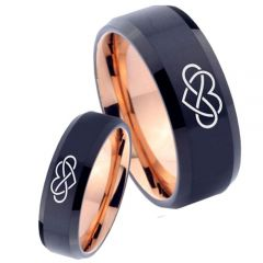 COI Tungsten Carbide Black Rose Infinity Heart Ring - 4642