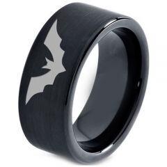 *COI Black Tungsten Carbide Bat Pipe Cut Flat Ring - TG4661C