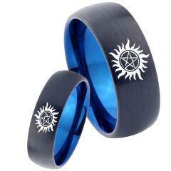 COI Tungsten Carbide Black Blue Supernatural Ring - 4666