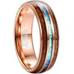 COI Rose Tungsten Carbide Crushed Opal and Wood Dome Court Ring-4682