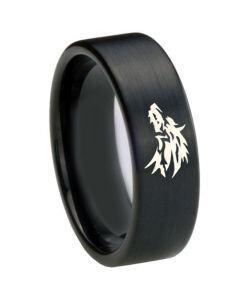 *COI Black Tungsten Carbide Wolf Pipe Cut Flat Ring - 4688