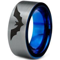 COI Tungsten Carbide Blue Silver Bat Pipe Cut Ring - TG4698