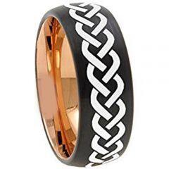 COI Tungsten Carbide Black Rose Celtic Dome Ring - 4738