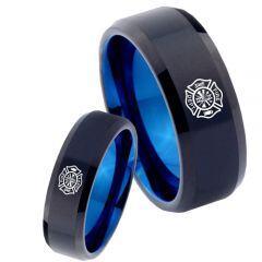 COI Tungsten Carbide Black Blue Firefighter Ring - 4739