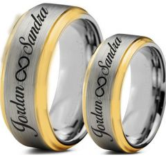 COI Tungsten Carbide Ring With Custom Engraving-TG5006