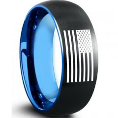 COI Tungsten Carbide Black Blue Ring With American Flag-5009