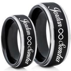 COI Tungsten Carbide Black Silver Custom Engraving Ring-TG5013