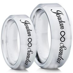 COI Tungsten Carbide Ring With Custom Engraving-TG5014