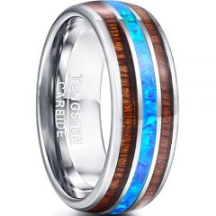COI Tungsten Carbide Crushed Opal & Wood Dome Court Ring-TG5028