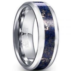 COI Tungsten Carbide Lapis Luzuli Beveled Edges Ring-TG5047