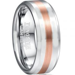 COI Tungsten Carbide Silver Rose Beveled Edges Ring-TG5051