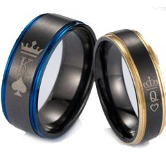 *COI Tungsten Carbide Black Blue/Rose King Queen Crown Ring-5053