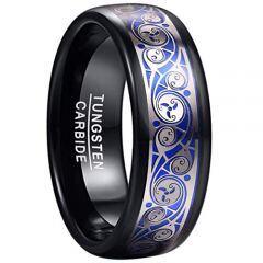 COI Tungsten Carbide Black Blue Silver Celtic Ring-TG5054