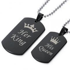 COI Black Tungsten Carbide King Queen Crown Pendant-TG5064