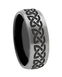 COI Tungsten Carbide Black Silver Celtic Dome Court Ring - TG3106