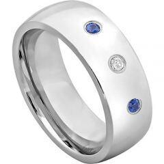 COI Tungsten Carbide Diamond & Created Sapphire Ring-5114