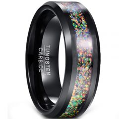COI Black Tungsten Carbide Crushed Opal Beveled Edges Ring-TG5128