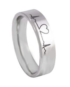 *COI Tungsten Carbide Heartbeat & Heart Pipe Cut Flat Ring-TG5134