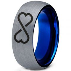 *COI Tungsten Carbide Blue Silver Infinity Heart Ring-TG5153