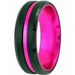 COI Tungsten Carbide Black Purple Center Groove Ring-TG5155