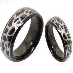 COI Black Tungsten Carbide Snake Skin Pattern Ring-TG5156
