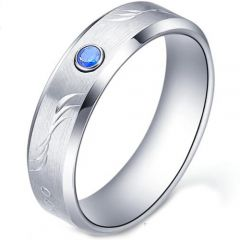 COI Tungsten Carbide Ring With Created Blue Sapphire-TG5177