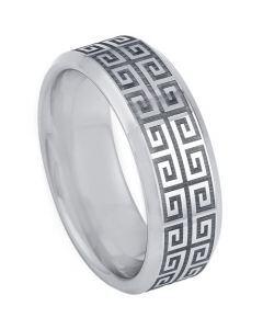 COI Tungsten Carbide Celtic Beveled Edges Ring-TG5200